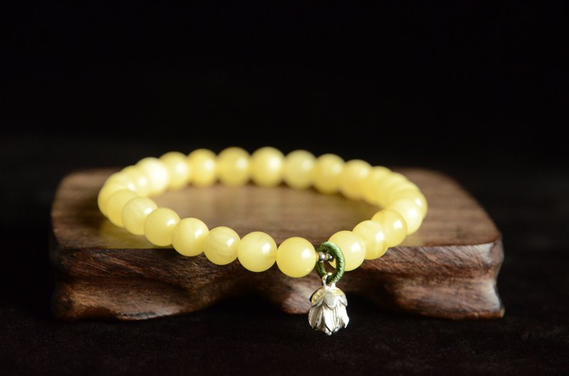 Flower. Amber Natural Amber 925 Silver Flower Fresh and Simple Bracelet