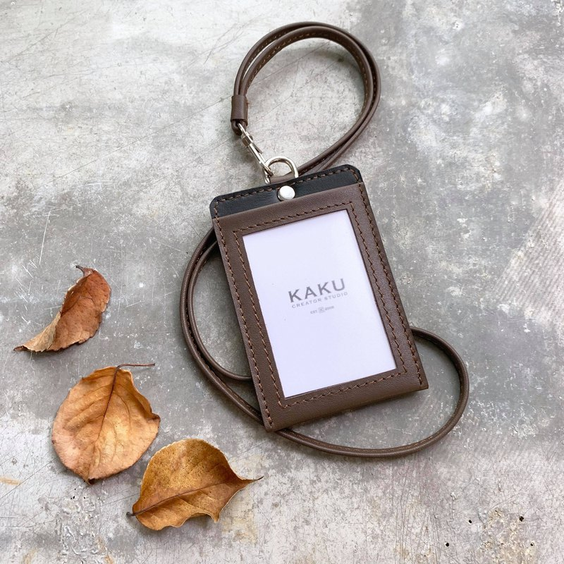 KAKU leather design leisure card holder ID clip dark coffee black bottom