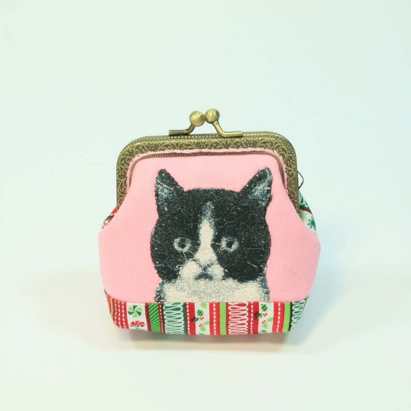 Embroidery 8.5cm mouth gold purse 16 - black and white cat