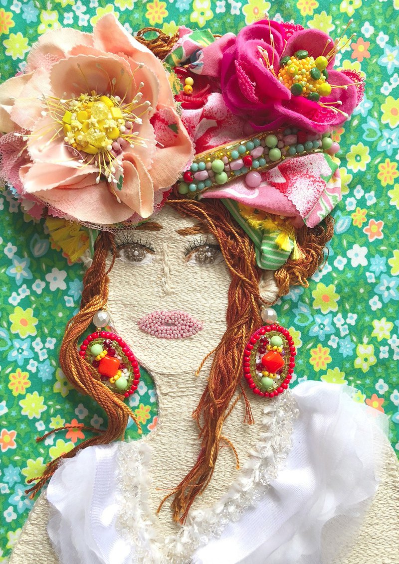 Vacances d été  New version  embroidery beads colorful art handmade