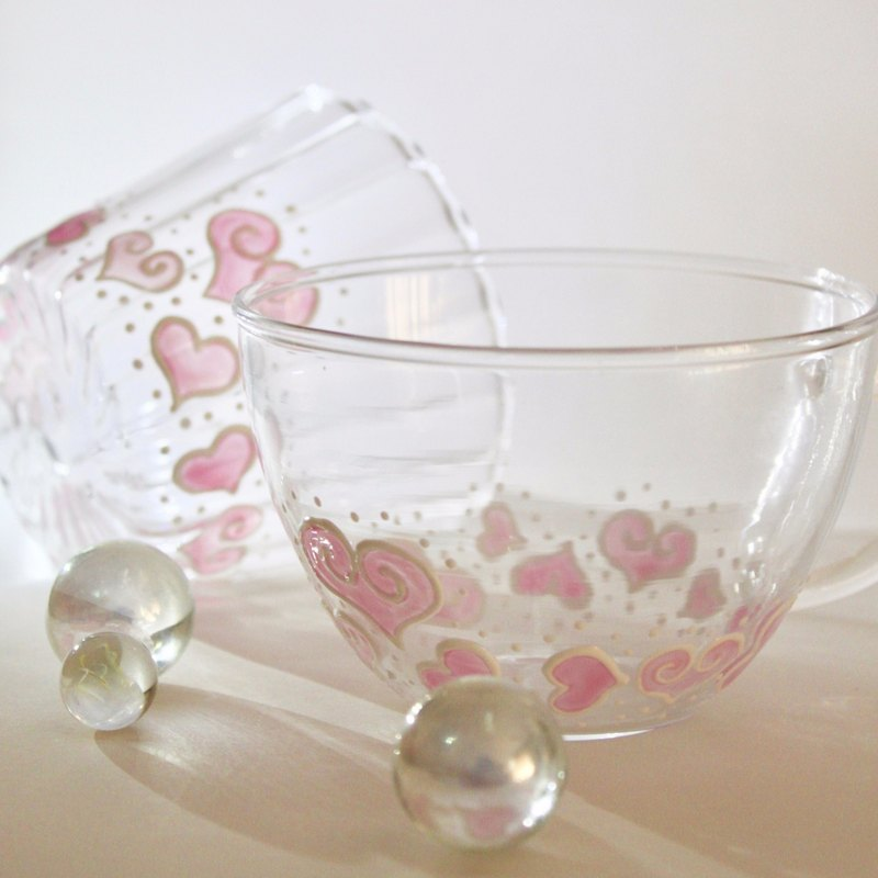 Painted Love Couple Cup・Pink Hearts Lovers Gift for Couple・Couple Glass Tea Cup