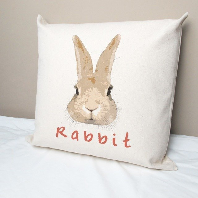 Small Meng rabbit cotton canvas pillow