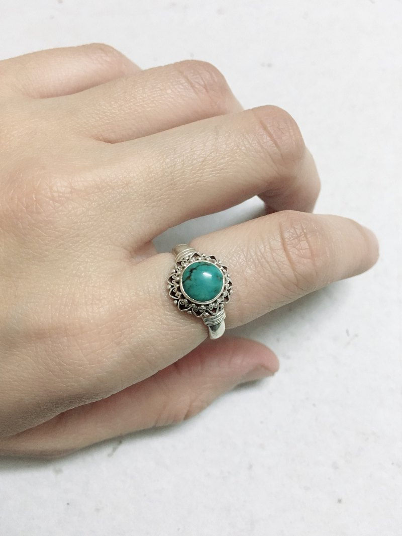 Turquoise Finger Ring Handmade in Nepal 92.5% Silver