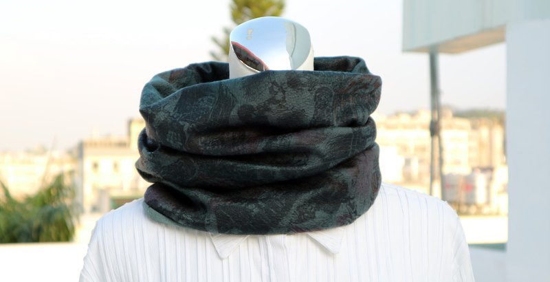 Dark green warm scarf short scarf neck cover double-sided two-color men and women are applicable*SK*
