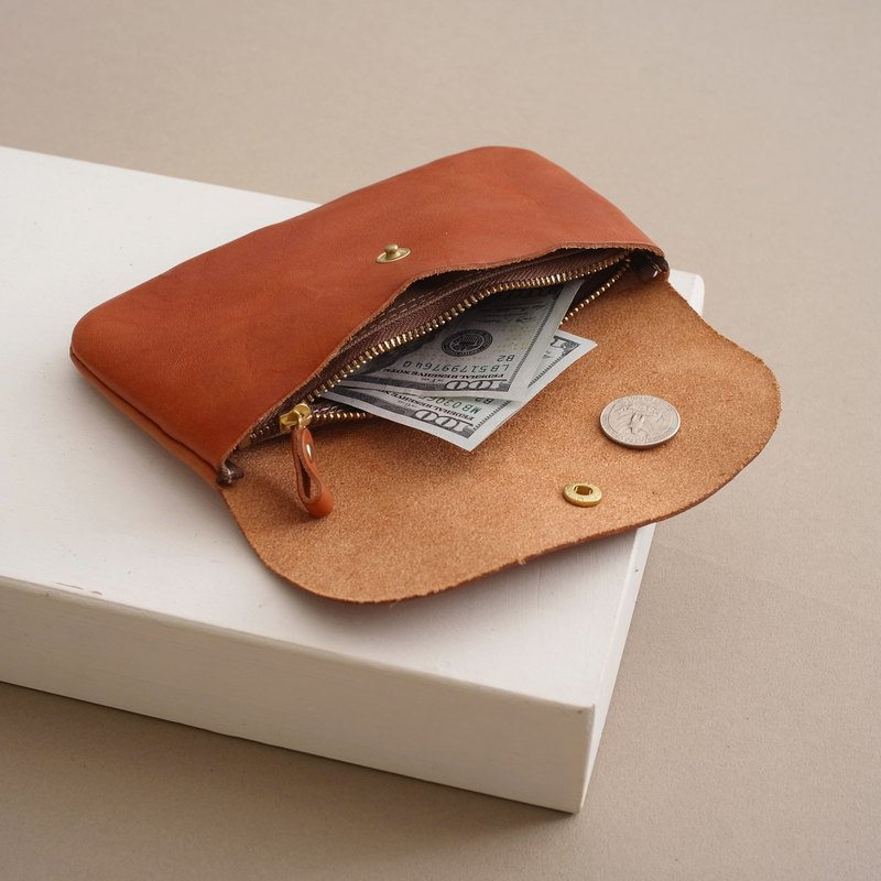 RENEE pick-up bag - big / long clip / wallet / small bag / light long clip vegetable tanned leather yellow brown