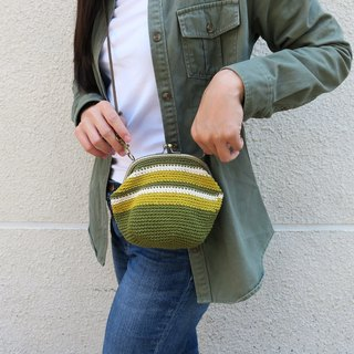 A mother の hand-knitted mouth gold - olive green X mustard yellow / bronze mouth gold / purse / side backpack / universal bag / gift / Mother's Day