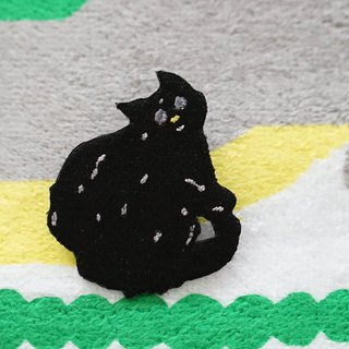 Favorite black cat embroidery pin patch