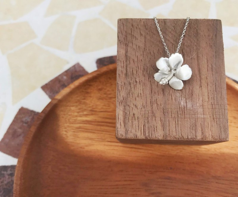 Summer series big hibiscus sterling silver necklace natural series lover new year mother's day girlfriends