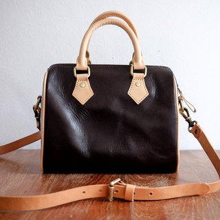 Two-tone Leather Duffle Bag Dark Brown