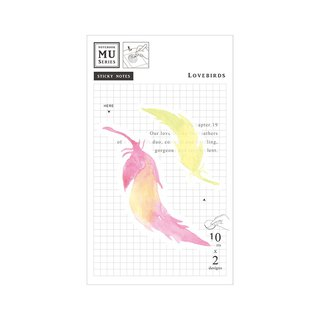 [MU Watercolor Translucent Sticky Note] Chap.19 Love Birds | Stacking collage decoration Pocket account