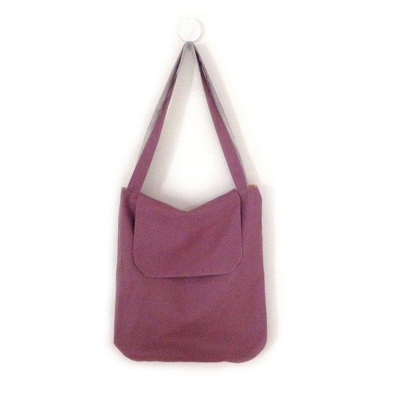 Tote Double double-sided two-tone tote bag - dark pink & colorful fruits & vegetables / small pockets