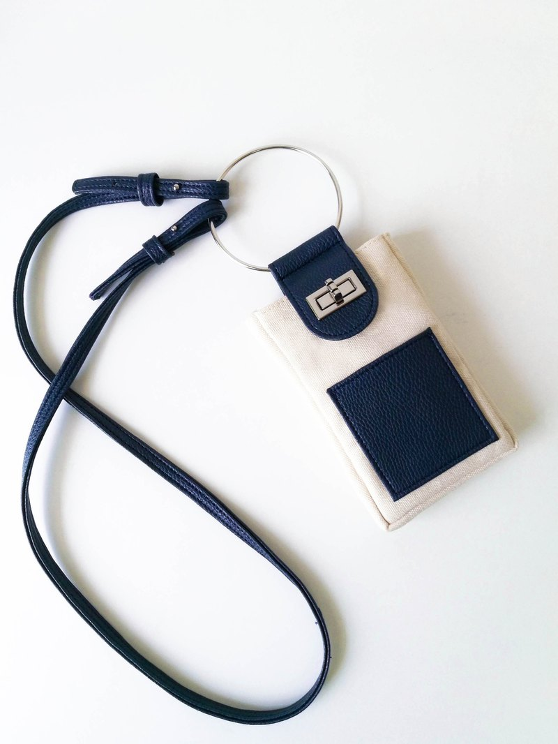 Emma / Ivory navy / Calico - Leather Crossbody Handbag