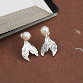 2-piece mermaid tail (pearl 925 sterling silver earrings Valentine's Day gift) ::C% handmade jewelry