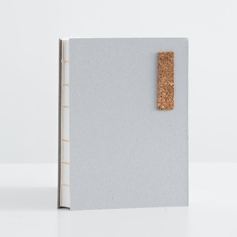 Pure gray simple and lightweight hard leather notebook