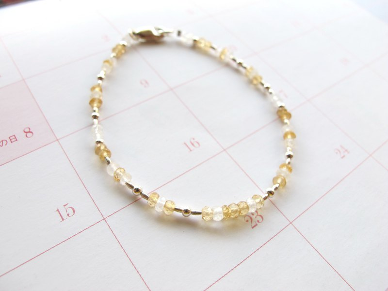 Citrine x Moonstone x 925 Silver [Little Angle Series - Shadow] - Light Bracelet