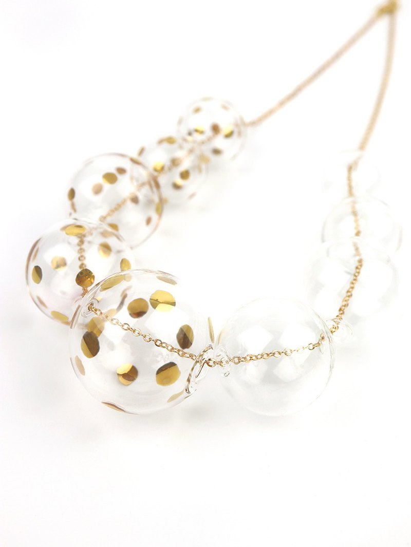 PERLA GOLD DOTS - Gold-paint polka dots bubbles necklace