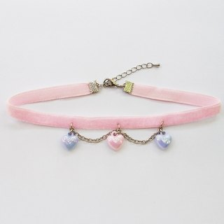 Pink velvet choker/necklace with pastel hearts and silver chain
