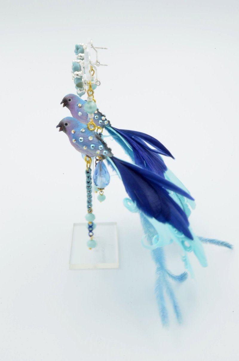 TIMBEE LO color long tail feather bird earrings limited edition