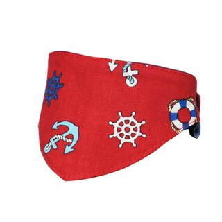 Pet triangle towel / scarf red anchor S ~ L 10 kg following size