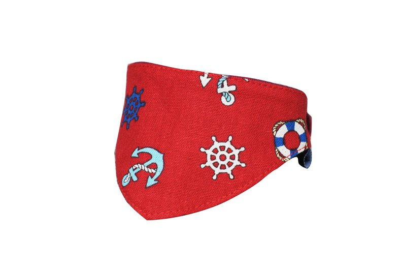 Pet triangle towel / scarf red anchor S~L 2L 5L