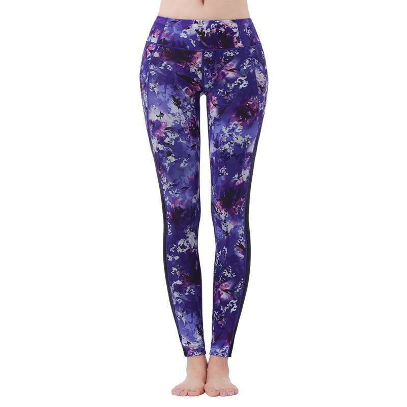 "[MACACA]-2"" thin hip fixed flower dance pocket trousers - AWE7282 purple print"