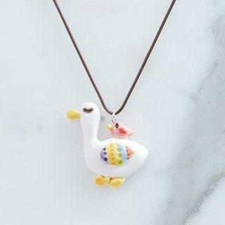 Friend with a duck - handmade white porcelain necklace