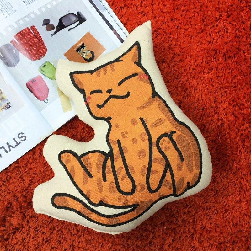 【 插畫家/我的貓貓生活】療癒巴 純棉帆布形狀抱枕