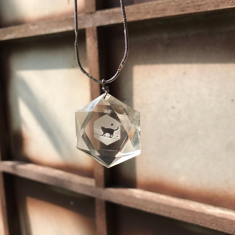 【Lost And Find】Natural clear Quartz cat necklace