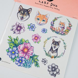 LAZY DUO Watercolor Floral Temporary Tattoo Stickers Flower Animal Kids Children