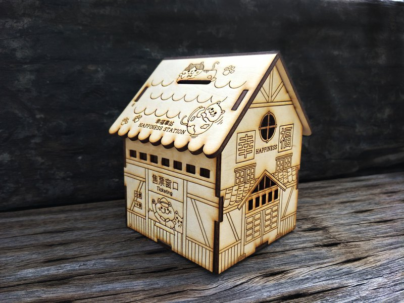 Taiwan limited wood carved wooden DIY DIY [cat station - multi-functional depositors] 2018 New Year's Day office practical depository commemorative birthday gift Happy New Year!