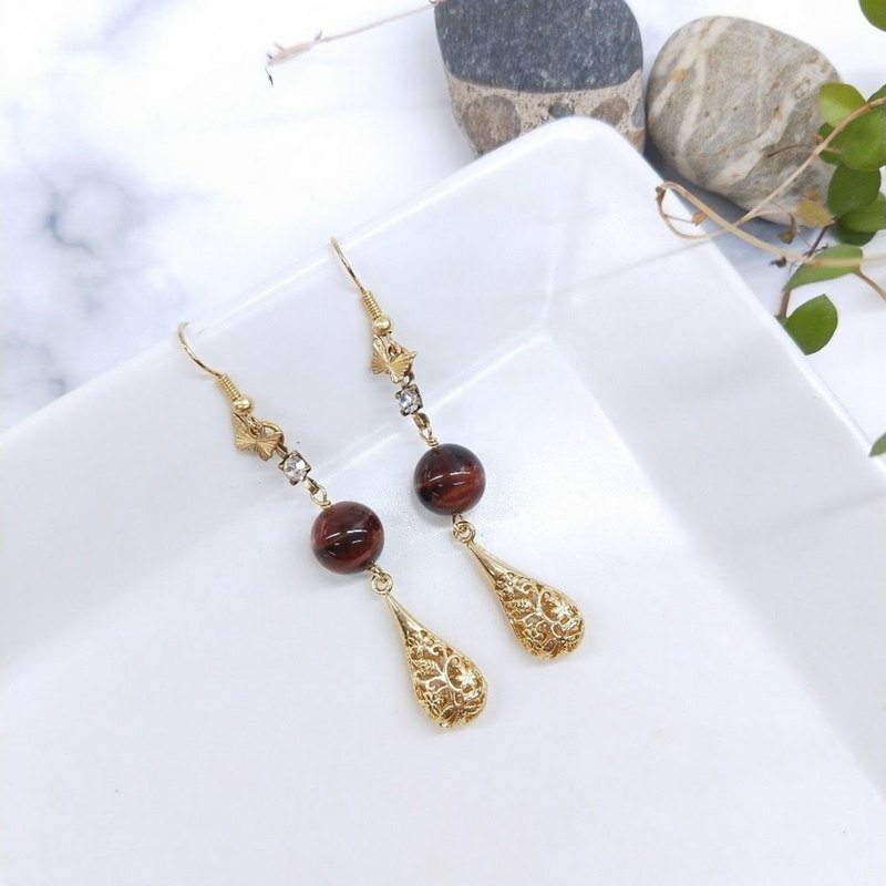 earring. Red Tiger Eye Stone* Brass Zircon Butterfly Stainless Steel Stud Earrings (Clampable)