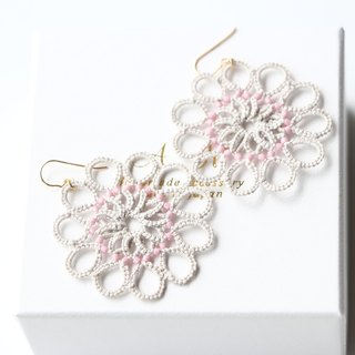 14kgf-Tatting lace pierced earrings(gray and pink)