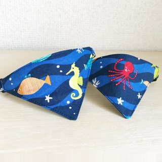 Bandana style collar for patterned cat in the sea Safety buckle safety collar
