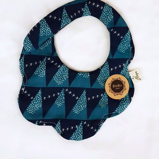 Gujia Yuezi designer cloth - mine blue - eight layers of yarn 100% cotton casual arc shape bibs saliva towel