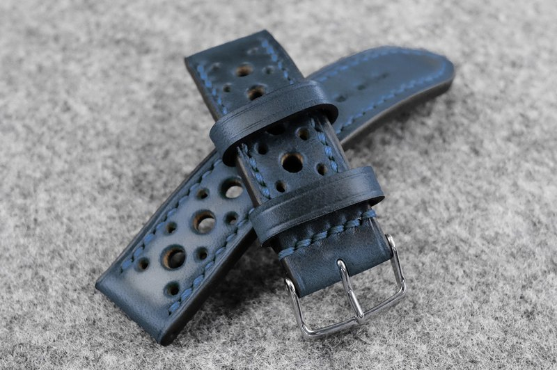 Horween Chromexcel Navy Racing Leather Watch Strap