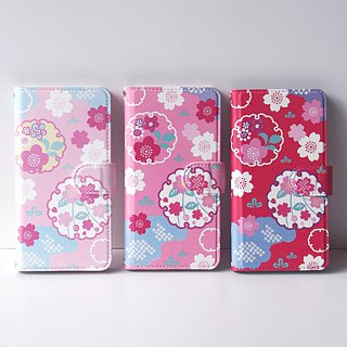 Notebook type phone case - Japanese Cherry Blossoms and Snowy Crystals -