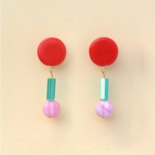 Solid red circular glass / pink pumpkin beads earrings