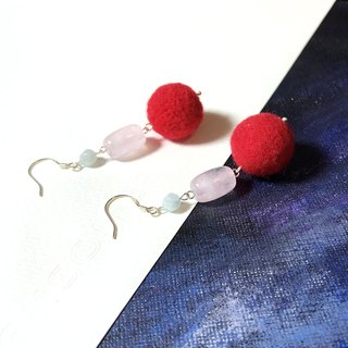 925 silver - wool felt \ rose quartz & aquamarine earrings