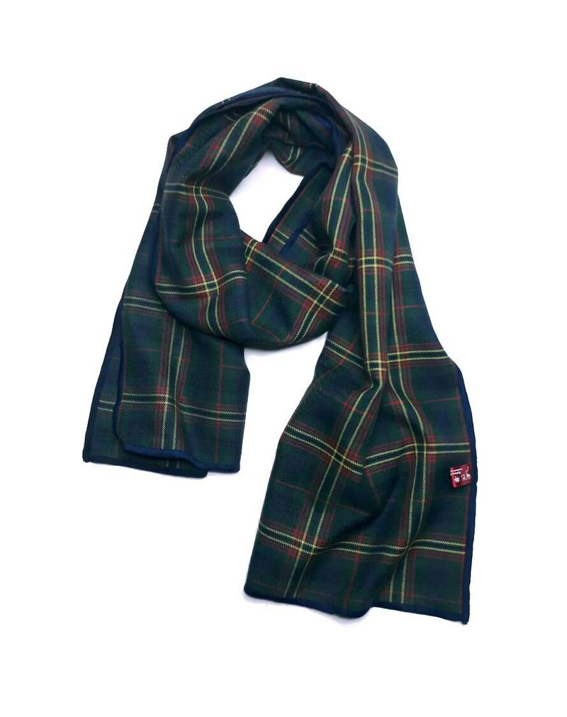 Cotton / collection old cloth blue green plaid scarf