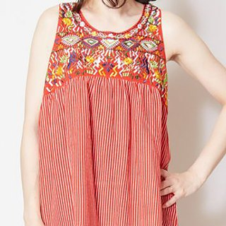 Pre-ordered cute ethnic style embroidered sleeveless top (three colors) IAC-8285