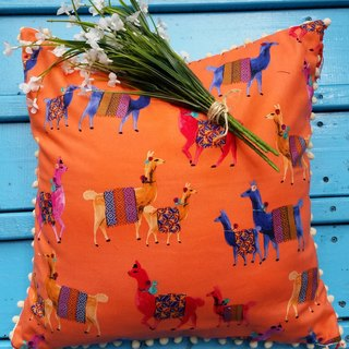 ~ Super cute exotic bright orange patterned alpaca abroad, off-white hairs hanging ball flow Su pillow / pillow