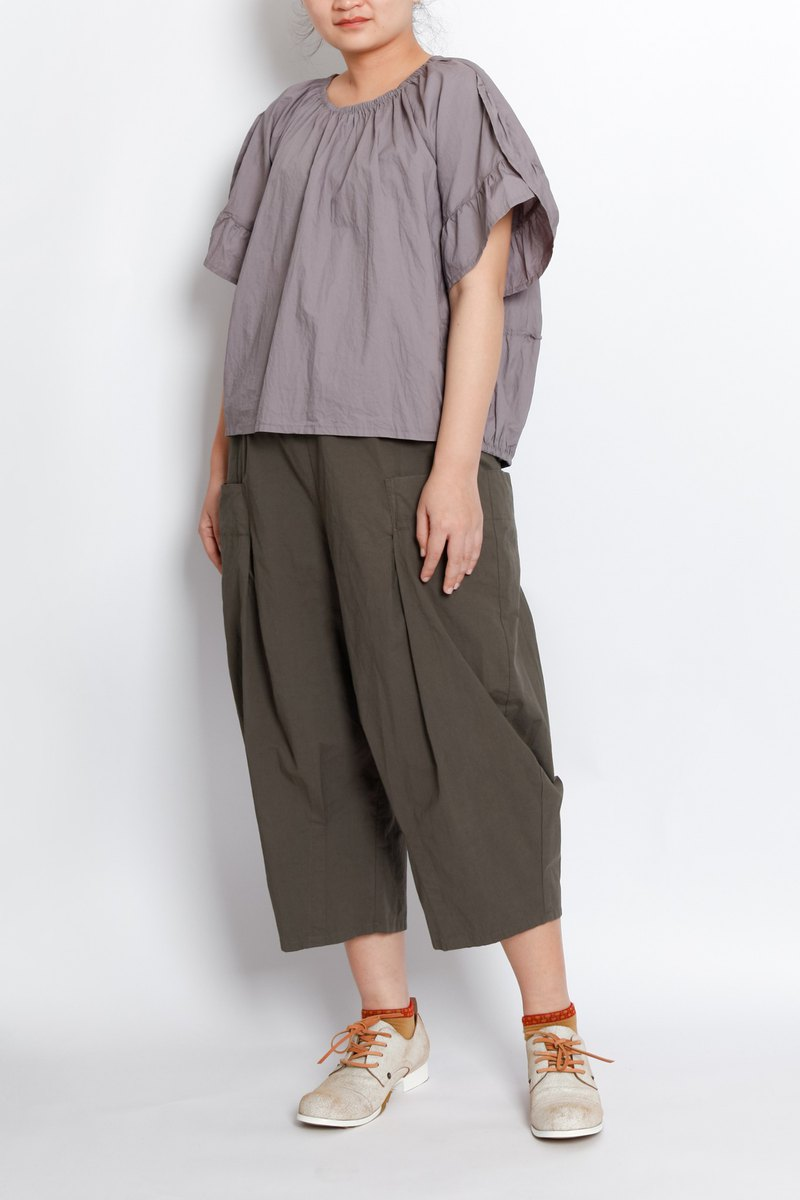 Sea _ search shell three-dimensional pocket pleated wide pants