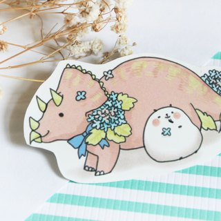 Xiong Ye waterproof sticker (white) Triceratops and Hydrangea