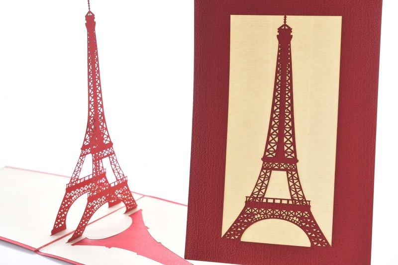 3D handmade classic Parisian tower stereoscopic card