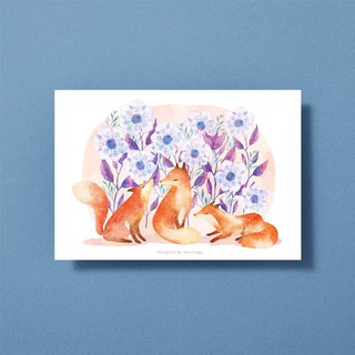 Illustration postcard - fox and flower