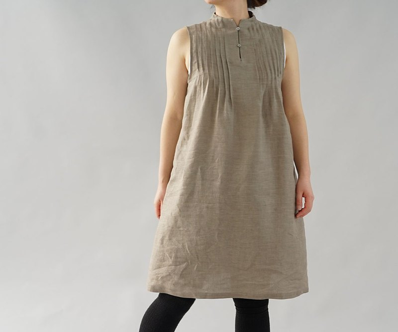 wafu  linen petticoat / dress / pintuck / midi length / layered / mocha  a81-33