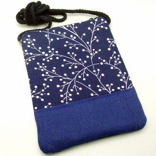 Silverbreeze ~ phone bag / shoulder bag / backpack - blue and white twill (D7)