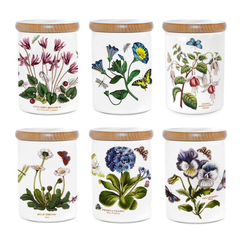 Portmeirion Botanic Garden Storage Jar 5.5 inch 6 Pieces Set