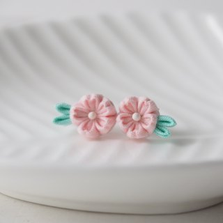 Piggy Pink Cherry Blossom Sakura stud Earrings Clip-on 14KGF, S925 custom