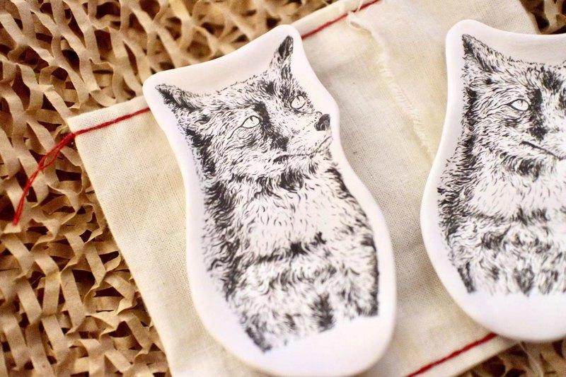 【ceramic 02】手繪素燒擴香瓷-狐狸